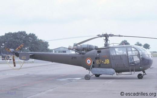 """Alouette III du """"Pyrénées"""" vu en 1977 sur la BA-120"""