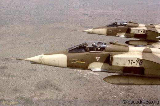 Avion du 4/11 au Tchad en octobre 1987 montrant le cockpit bien protégé du Jag