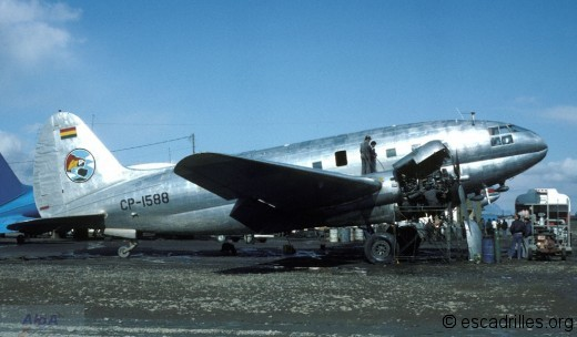 Un C-46 vu en 1982 à La Paz