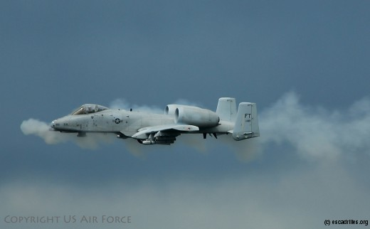 MOODY AIR FORCE BASE, Ga. – An A-10C Thunderbolt II ground attack aircraft performs a low-level strafing run with its 30 mm cannon during a combat search and rescue demonstration here Oct 4. The digitally-upgraded A-10C has been equipped with satellite-guided precision weaponry and advanced communications data links for transferring information with ground-based warfighters. (U.S. Air Force Photo by Tech. Sgt. Parker Gyokeres)