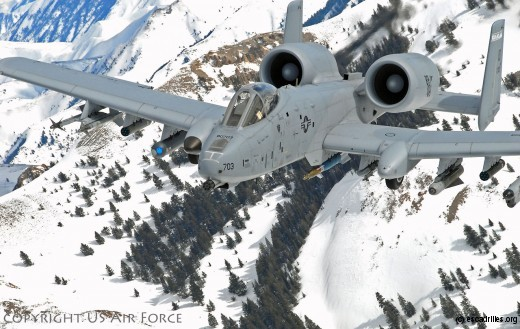An A-10A Thunderbolt II (Warthog) assigned to the 190th Fighter Wing, Idaho Air National Guard flies over the snow-covered Sawtooth mountains on February 2008.