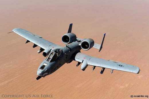 An A-10 Thunderbolt II, assigned to the 74th Fighter Squadron, Moody Air Force Base, GA, returns to mission after receiving fuel from a KC-135 Stratotanker, 340th Expeditionary Air Refueling Squadron, over the skies of Afghanistan in support of Operation Enduring Freedom, May 8, 2011. (U.S. Air Force photo/Master Sgt. William Greer)